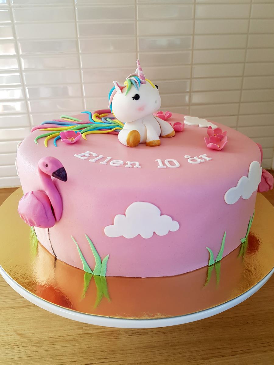 Unicorn and flamingos cake - enhörnings- och flamingotårta